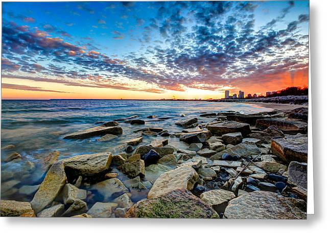 Sunset On The Rocks Greeting Card by Anna-Lee Cappaert