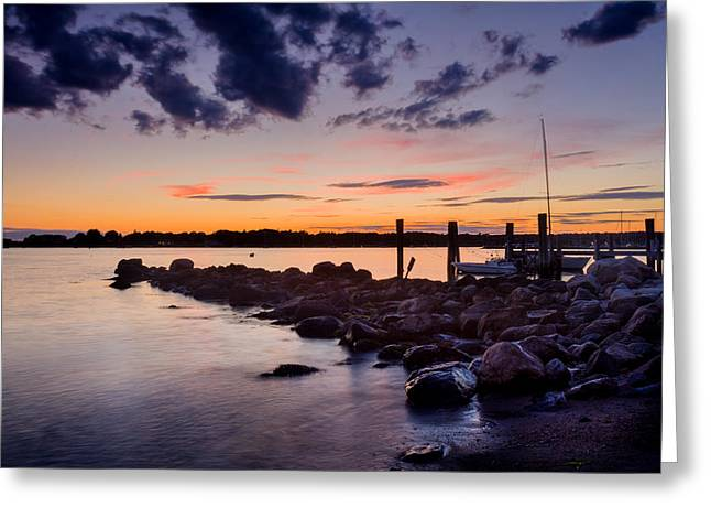 Sunset On The Rocks - Stonington Point Greeting Card