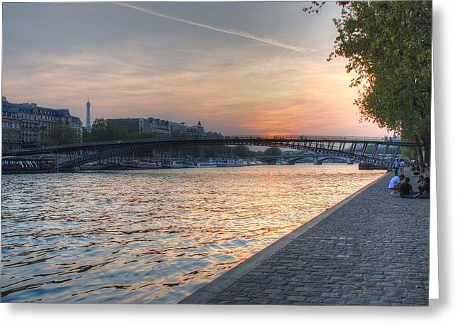 Sunset On The Seine Greeting Card by Jennifer Ancker