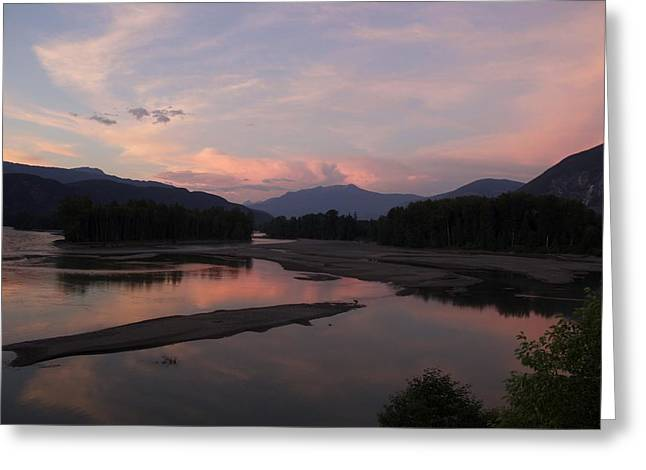 Greeting Card featuring the photograph Sunset On The Skeena by Sylvia Hart