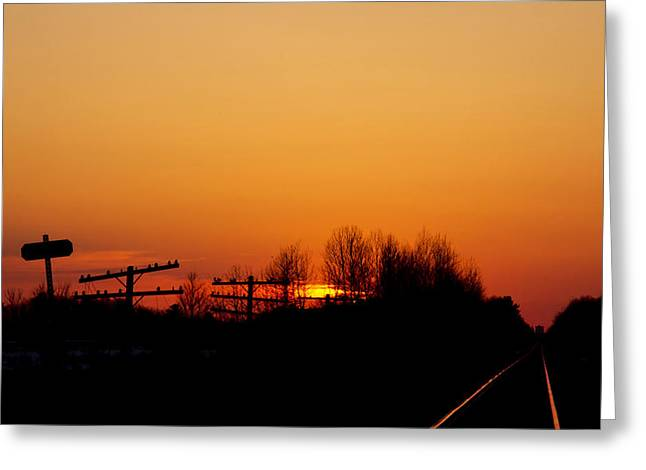 Sunset On The Tracks  Greeting Card by Lucie Gagnon