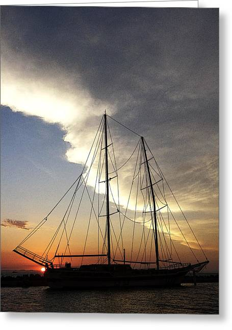 Sunset On The Turkish Gulet Greeting Card by Anne Mott