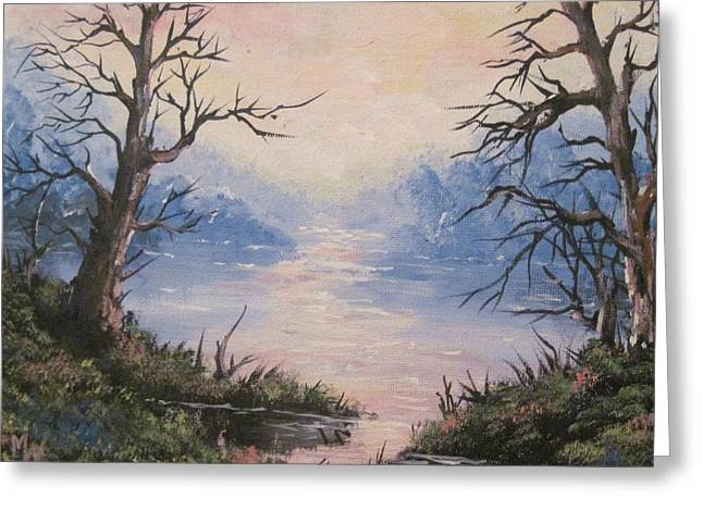 Greeting Card featuring the painting Sunset On Water by Megan Walsh