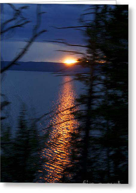 Sunset On Yellow Stone Lake 1 Greeting Card