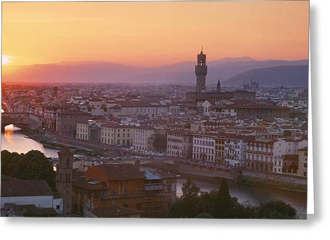 Sunset Over A City, Florence, Tuscany Greeting Card by Panoramic Images