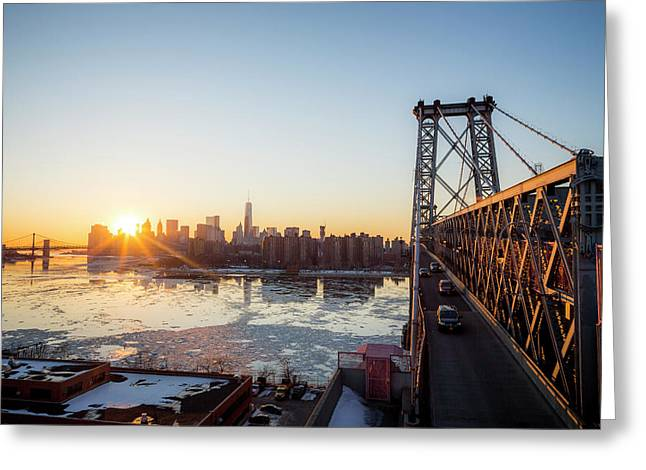 Sunset Over A City While On A Bridge Greeting Card