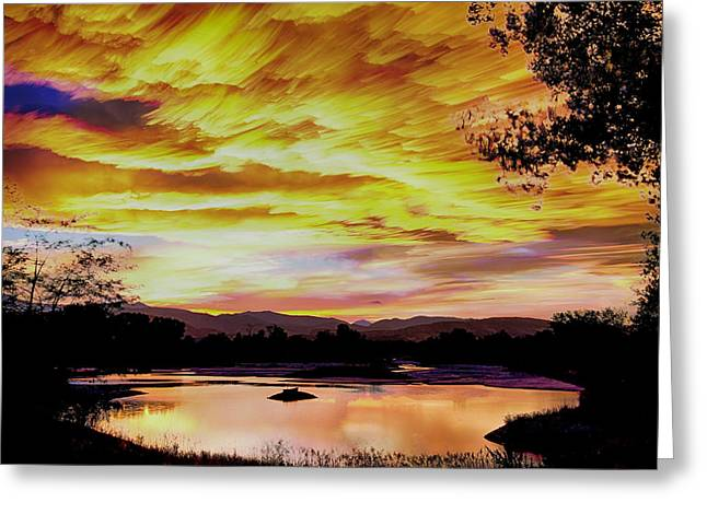 Sunset Over A Country Pond Greeting Card by James BO  Insogna