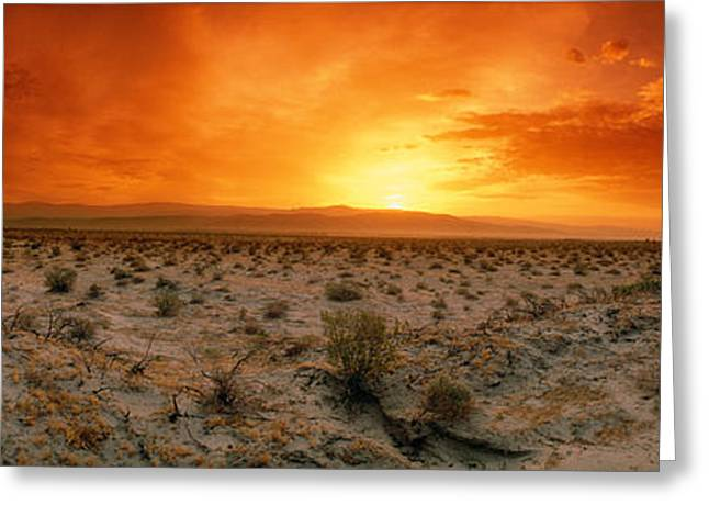 Sunset Over A Desert, Palm Springs Greeting Card by Panoramic Images