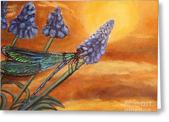 Summer Sunset Over A Dragonfly Greeting Card by Kimberlee Baxter
