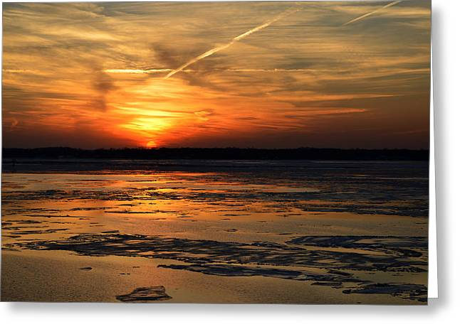 Greeting Card featuring the photograph Sunset Over A Frozen Chesapeake Bay by Bill Swartwout