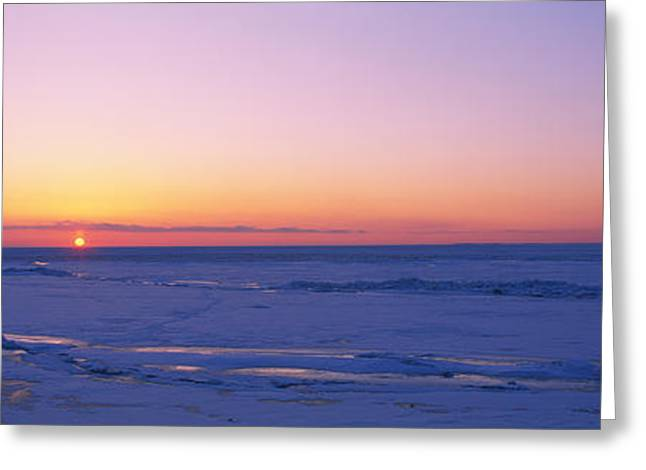 Sunset Over A Frozen Lake, Lake Erie Greeting Card by Panoramic Images