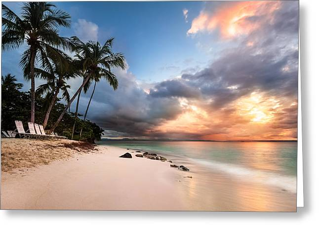 Greeting Card featuring the photograph Sunset Over Bacardi Island by Mihai Andritoiu