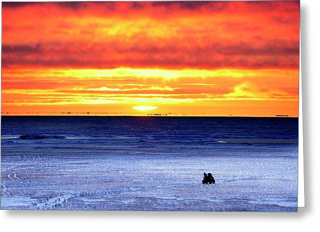 Sunset Over Beaufort Sea Alaska Greeting Card by Chris Madeley