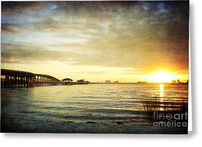 Sunset Over Biloxi Bay Greeting Card by Joan McCool