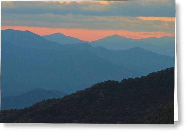 Sunset Over Blue Ridge Asheville North Carolina Greeting Card by Dan Sproul