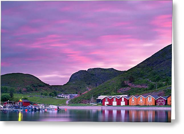Sunset Over Boat Houses On The Island Greeting Card