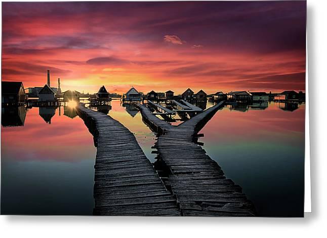 Sunset Over Bokodi Hutoto Lake Greeting Card