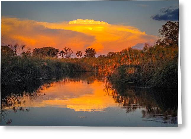 Sunset Over Camp Sandibe Greeting Card