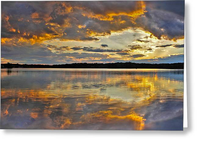 Sunset Over Canobie Lake Greeting Card by Sebastien Coursol