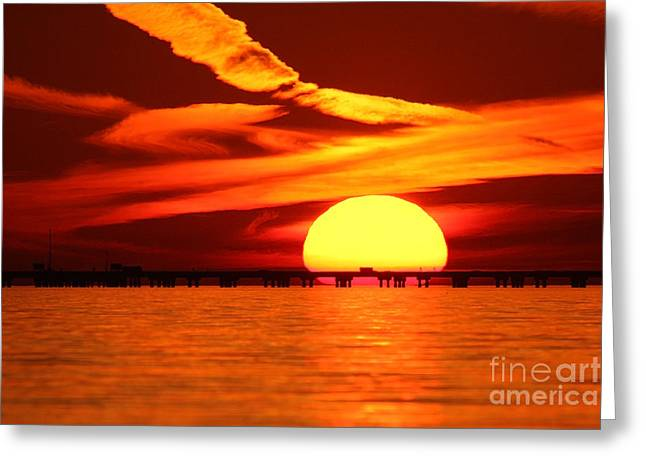 Sunset Over Causeway Greeting Card