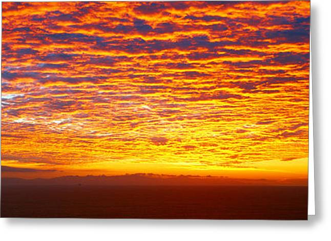 Sunset Over Channel Islands And Pacific Greeting Card by Panoramic Images