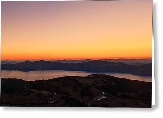 Sunset Over Crater Lake Greeting Card by Jaime Weatherford