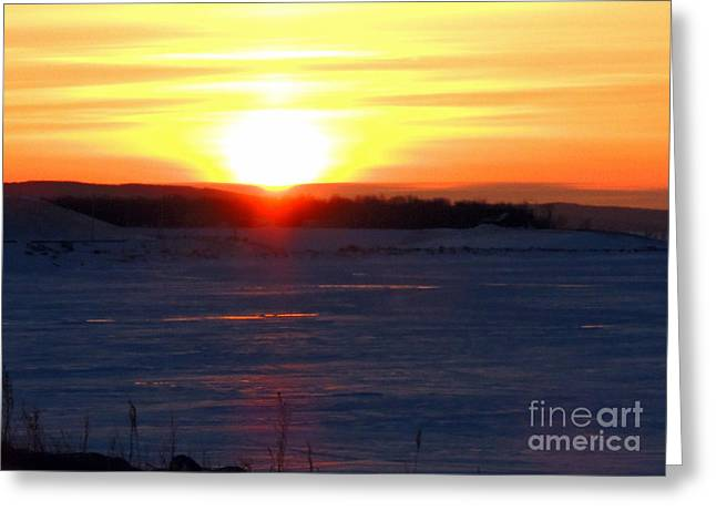 Sunset Over Devils Lake Greeting Card