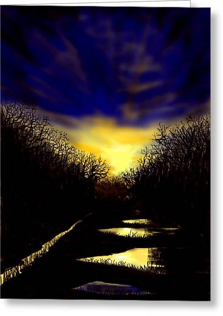 Sunset Over Disused Railway Tracks Greeting Card