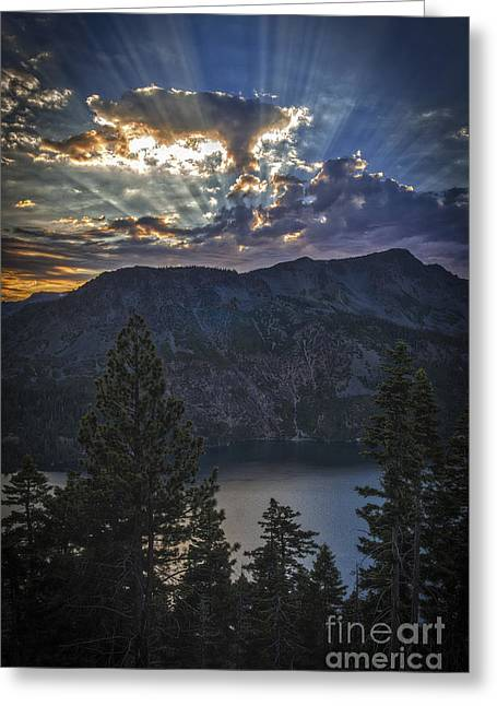 Sunset Over Fallen Leaf Lake Greeting Card by Mitch Shindelbower