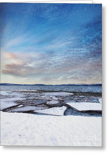 Sunset Over Frozen Lake Greeting Card