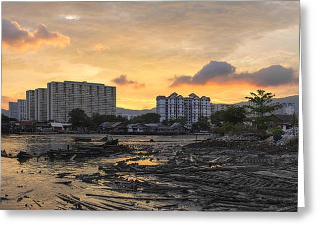 Sunset Over Georgetown Penang Malaysia Greeting Card