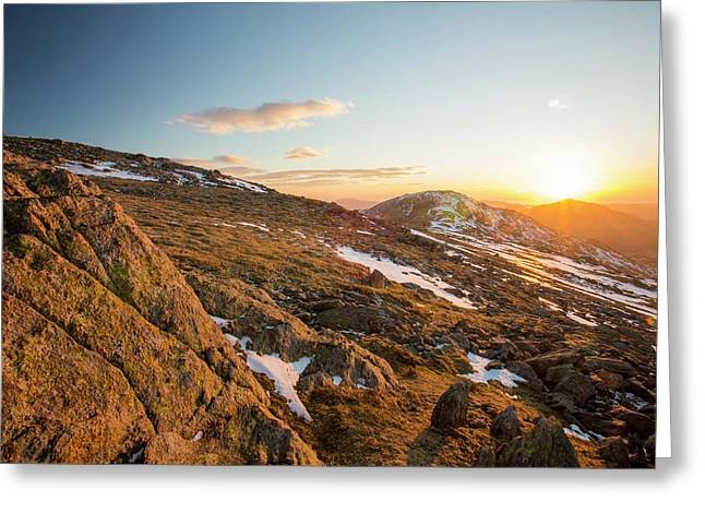 Sunset Over Grey Friar And Harter Fell Greeting Card