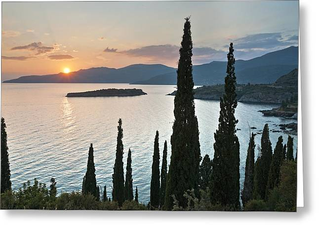 Sunset Over Kalamitsi Bay Near Kardamyli In Greece. Greeting Card by Peter Eastland