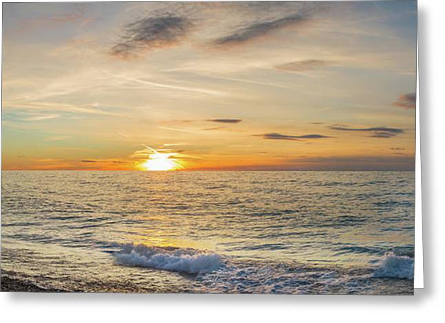 Sunset Over Lake Michigan, Benzie Greeting Card by Panoramic Images