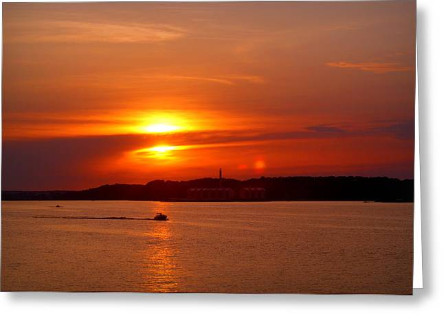 Sunset Over Lake Ozark Greeting Card by Cricket Hackmann