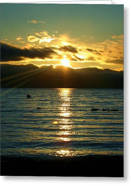 Sunset Over Lake Tahoe Greeting Card by Ellen Heaverlo