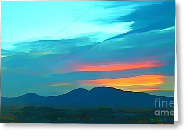 Sunset Over Las Vegas Hills Greeting Card by John Malone