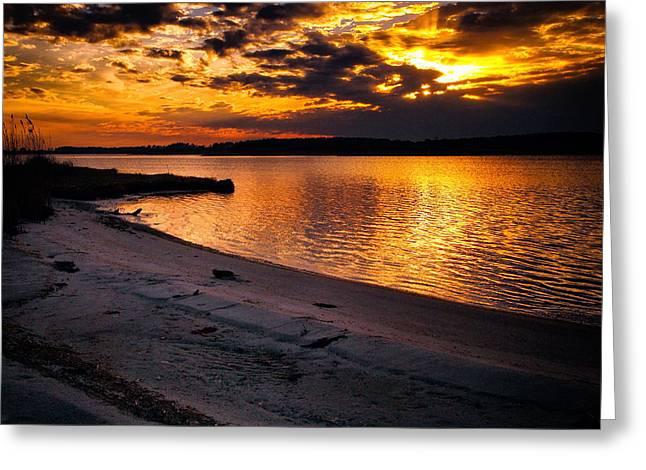 Sunset Over Little Assawoman Bay Greeting Card