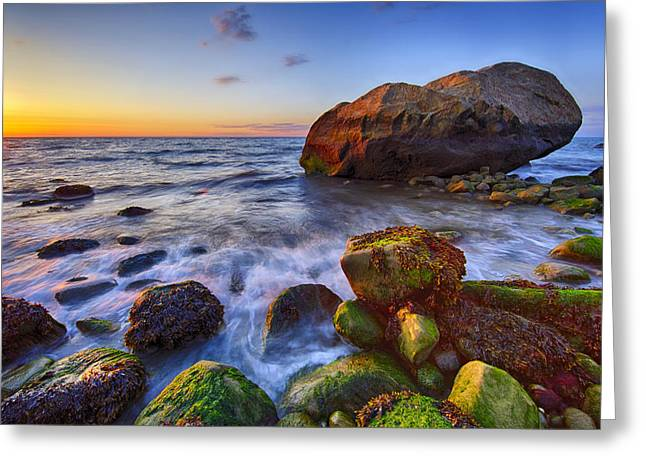 Sunset Over Long Island Sound Greeting Card by Rick Berk