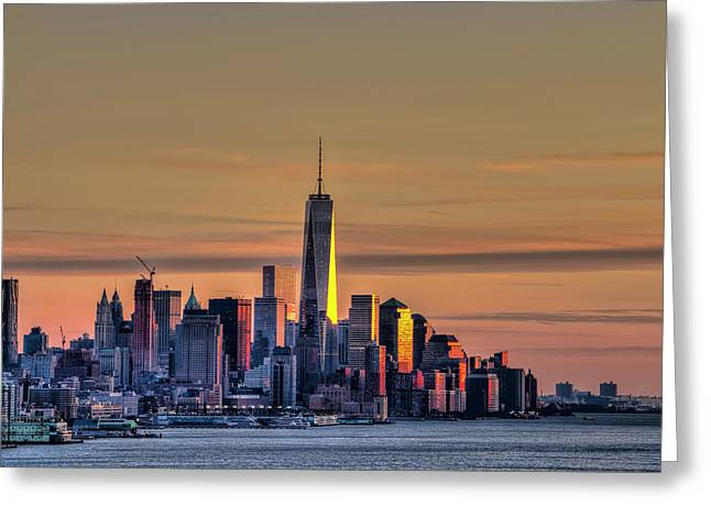 Sunset Over Lower Manhattan Greeting Card