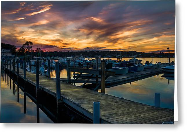 Sunset Over Marina On Mystic River Greeting Card