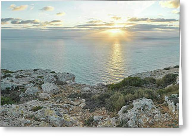 Sunset Over Mediterranean Sea, Dingli Greeting Card