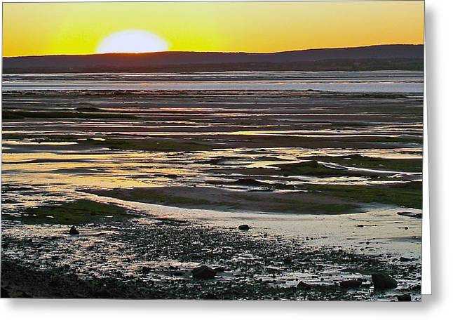 Sunset Over Minas Basin In Fundy Bay Near Grand Pre-ns Greeting Card by Ruth Hager