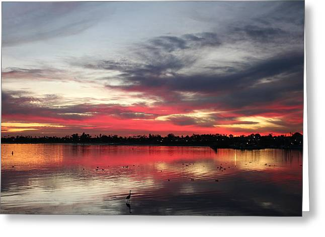 Sunset Over Mission Bay  Greeting Card