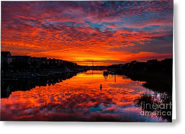 Sunset Over Morgan Creek - Wild Dunes Resort Greeting Card