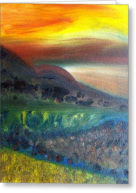 Sunset Over Mountains  Greeting Card by Michaela Kraemer