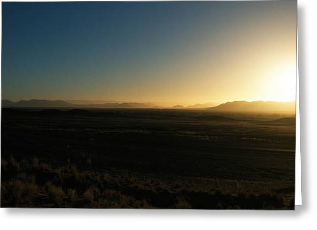 Sunset Over Mountains, Sossusvlei Greeting Card