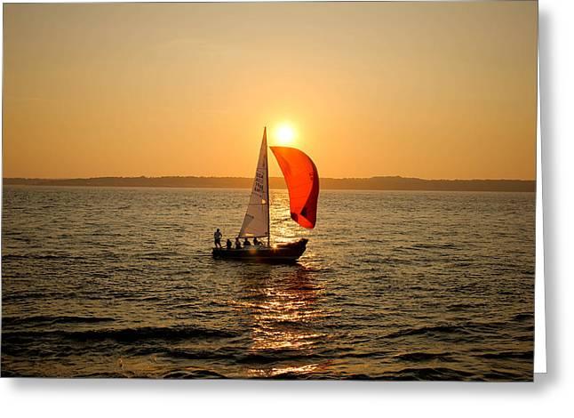 Sunset Over Narragansett Bay Greeting Card