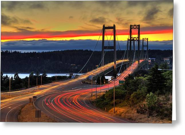 Sunset Over Narrows Bridges Greeting Card
