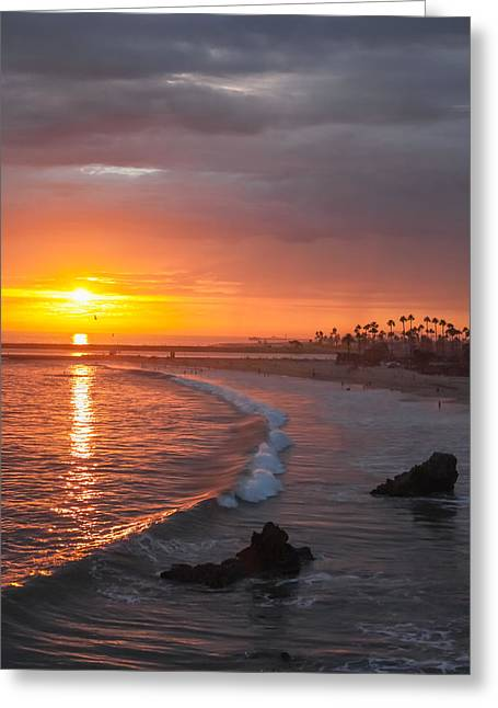 Sunset Over Newport Beach Jetty Greeting Card by Cliff Wassmann